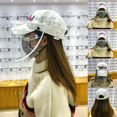 Cap Protective Clear Mask Cover Anti-spitting Splash-Proof Visor Hat US UP