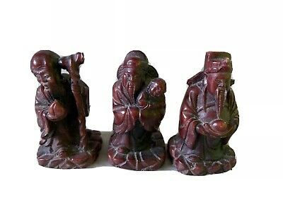 3 X Vintage Beautiful Resin Chinese Figures , Long Life , Good Luck & Plenty Mon
