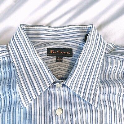 CLASSIC! Ben Sherman $104 Oxford 17.5-34/35 XL Mens Casual Button Down LS Blue