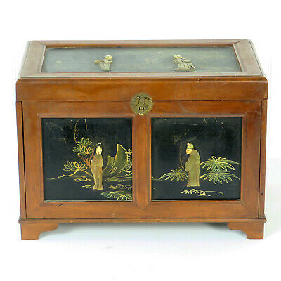 Beautiful Vintage Asian Chinese Wood with Stone Figures Jewelry Trinket Box