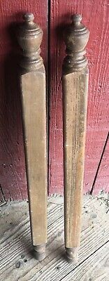 2 Oak Turned Architectural Salvage Finial Newel  Bed Post Column Wood 38.25""
