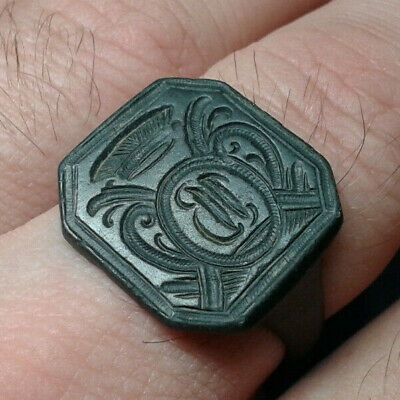 Ancient Bronze Ring with the Coat of Arms
