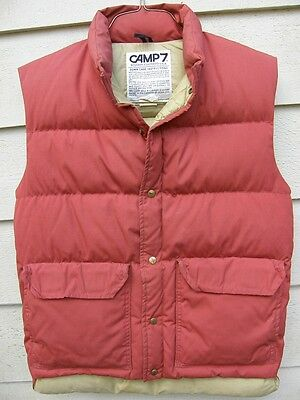 Camp 7 Vintage Goose Down Vest Small Dark Orange Boulder Colorado USA