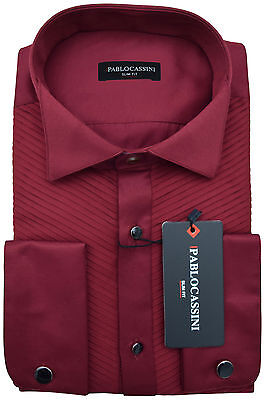 Pablo Cassini Dress Shirt Bordeaux Red with Pleats and Cufflinks