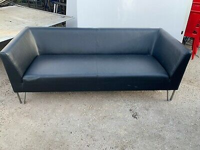 Black Faux Leather Office/Waiting Room Sofa Ref AG