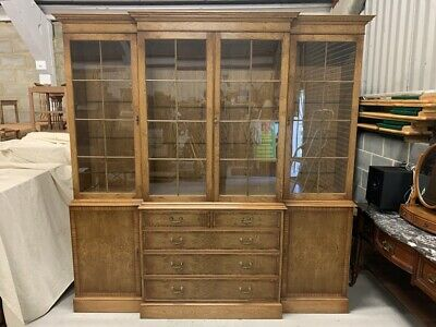Large Cluster Oak Breakfront Library Bookcase by Bevan Funnell