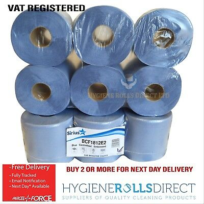 12 rolls x Sirius Blue Centrefeed Embossed 2ply Wiper Paper Towel 85M Per Roll