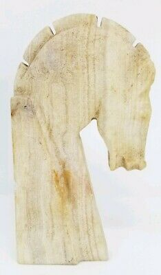 Hand Carved Stone Horse Head Figural Statue White Cream Onyx Agatized 7.75""