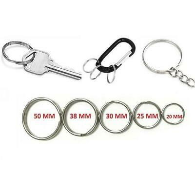 *UK Seller* KEYRING SPLIT RINGS Silver Small Large Key Ring 15 20 25 30 35 50mm