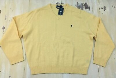 POLO RALPH LAUREN - NWT Yellow Lambswool V-neck Mens Sweater, XXL - MUST SEE!