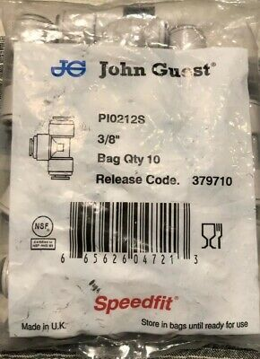 "NEW 10 Pack John Guest Union ( Equal ) Tee 3/8"" Inlet & Outlets PI 0212S Grey"