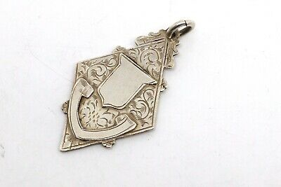 A Very Nice Antique Art Deco C1948 Sterling Silver Fob Medal Pendant #18867