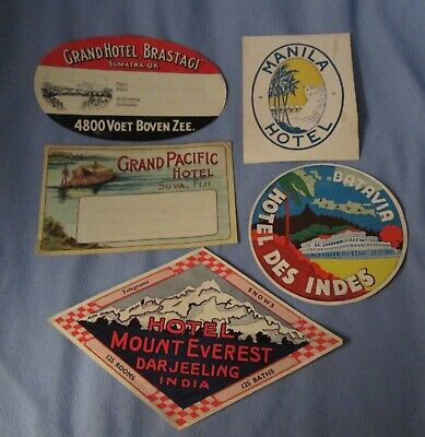 5 vintage unused hotel souvenir luggage labels - Asia & Pacific Islands