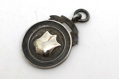 A Nice Antique Art Deco C1937 Sterling Silver Fob Medal Pendant #18868