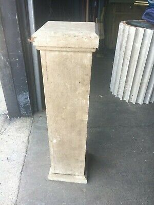 "c1890 pine newel post bannister column 36"" x 9.5"" x 8"" sq shaft old off white"