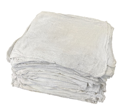 100 New Industrial Shop Rags Cleaning Towels White Large 12x14 Towel Premium