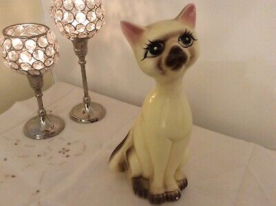 "ORIGINAL VINTAGE MID CENTURY 50's/60's PORCELAIN KITSCH 10"" TALL SIAMESE CAT"