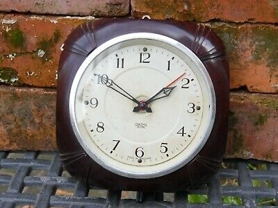 Vintage Rare Art Deco Bakelite Smiths SECTRIC Office Wall Clock