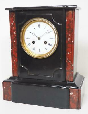 Antique 8 Day French Mantel Clock Bell Striking Classical Slate Mantle Clock