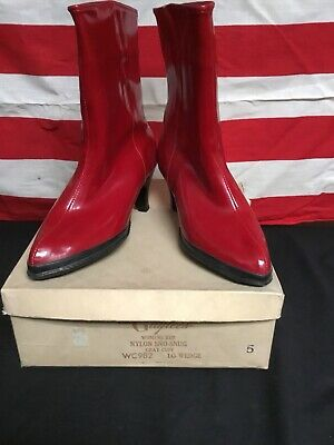 Vintage 1940s Womans Galoshes Gaytees Red Shoes Old Store Stock COOP.