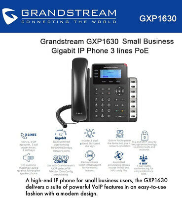 *EXCELLENT CONDITION* Grandstream GXP1630 HD PoE 3 Line IP Phone