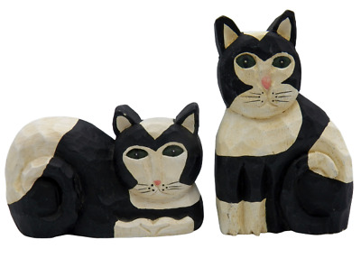 2 James Haddon Black and White Cats Folk Art Hand Carved Wood HandPainted Signed