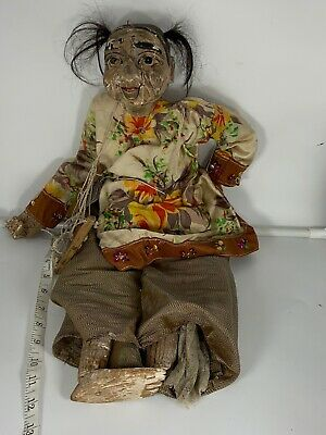 Antique Burmese Marionette Puppet Wood Creepy Old Man Anatomically Correct
