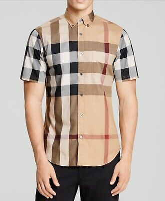 Nwt Men's Burberry Fred Short Sleeve Slim Fit Button Down Check Large $275