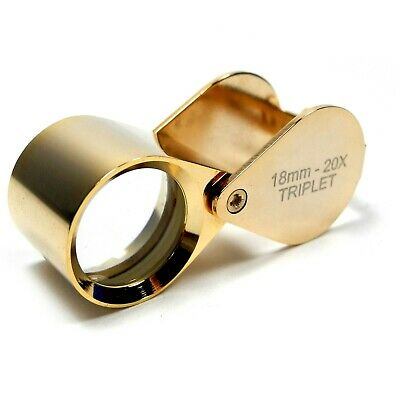 Gold Plated Triplet Loupe 20x Mag Jewellers Watchmakers Hallmarks - HP4620G