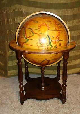 "Large 32"" Vintage Monumental Renaissance Style Mounted Spinning Globe Stand"