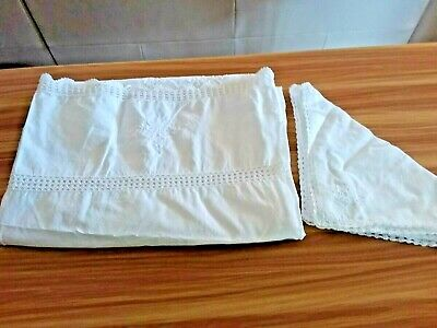 Vintage White Cotton Rectangle Embroidered & Crochet Table Cloth 6 Napkins