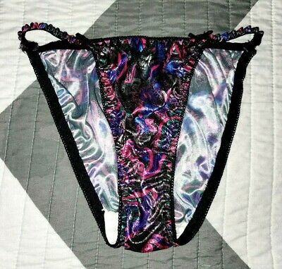 VINTAGE PATTERNED Satin String Bikini Panties Glossy Wet Liquid Size 5