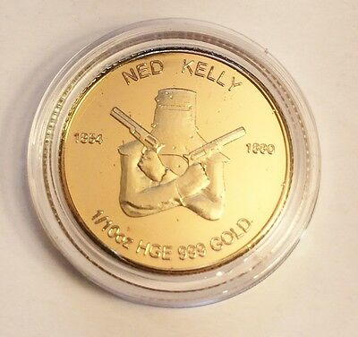 """New """"Ned Kelly #2"""" 1/10th oz HGE 999 Gold Australiana Coin, Such is Life"""