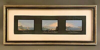 3 Antique Miniature Italian Grand Tour Mt Vesuvius Gouache Paintings Framed - A