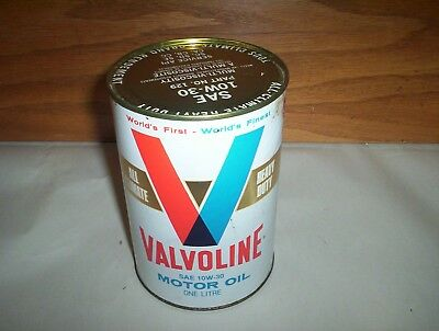 Vintage Valvoline All Climate Heavy Duty Motor Oil Can Tin Canada 1 Litre 10w30
