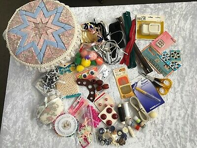 Vintage Quilted Patchwork Sewing Basket Buttons Doll Embroidery Craft Ephemera