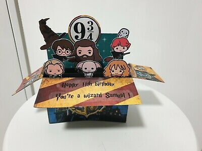 Custom made to order personalisable Harry Potter pop up box card