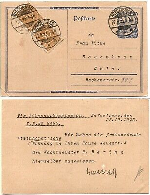 GERMANY- Two 50,000 Mark Inflationary Stamps (#239) 1923 Used Postal Card *RARE*