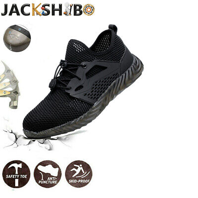 Lightweight Work Trainers Safety Shoes Toe Steel Mens Hiking Boots Ankle Cap UK