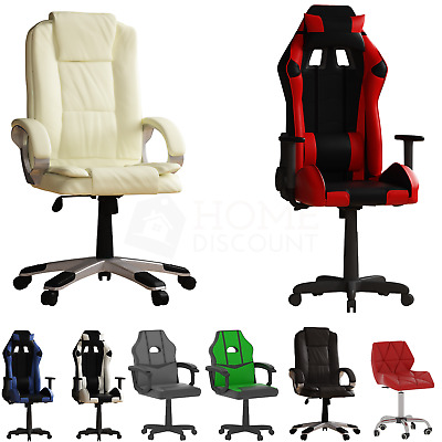 Cushioned Computer Gaming Desk Office Chair Executive Swivel Leather Home Desk