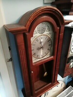 (1554) Large Brown Wooden Wall Clock With Westminster Chimes Made By Acctim Cloc