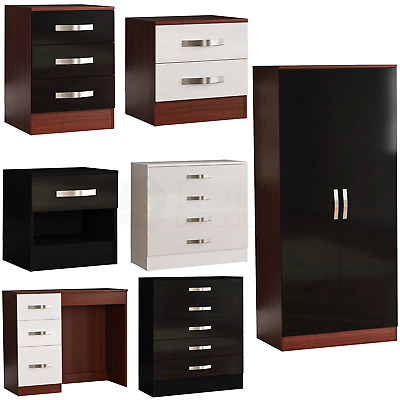 High Gloss Chest of Drawers Bedside Cabinet Dressing Table Wardrobe Bedroom