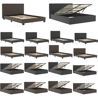 Ottoman Storage Bed Gas Lift Double King Size Leather Bed Slatted Base Headboard