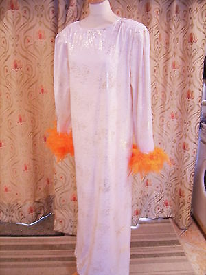 Drag Queen Cream/Gold Long dress with orange feathers 16/18