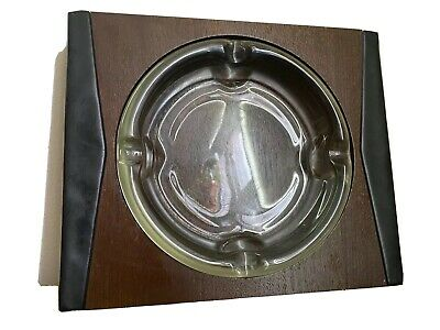 Vintage Mid Century Modern Danish Wood Leather Table Ash Tray Glass Insert Retro