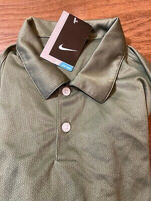 Mens Size Large Nike Golf Polo Shirt Brown/Green Short Sleeve 373749-323