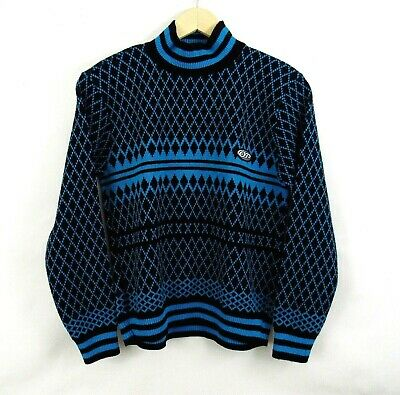 Vintage Sweater 1980s OP Ocean Pacific USA Boys M Turquoise Black Pullover