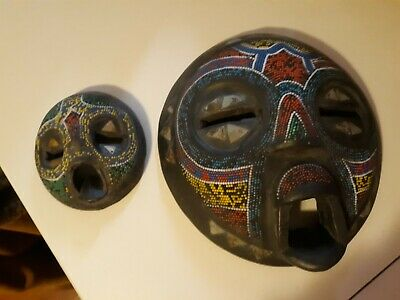 Handcrafted and Carved Wooden Wall Mask from Ghana Africa set of 2 Large + Small
