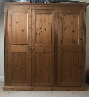 Quality Solid Pine 3 Door Large Wardrobe In Great Condition