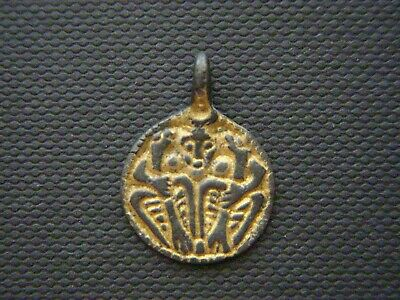 Viking Gilt Silver Odin and Ravens Pendant. 9th-10th century AD